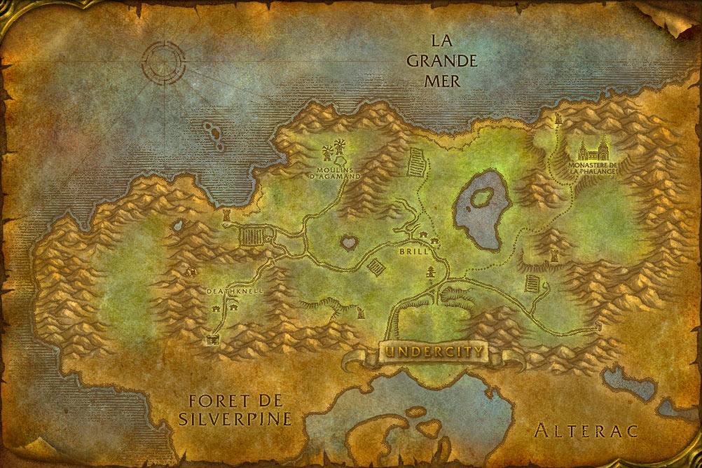 Carte de la zone Clairières de Tirisfal de World of Warcraft Classic.