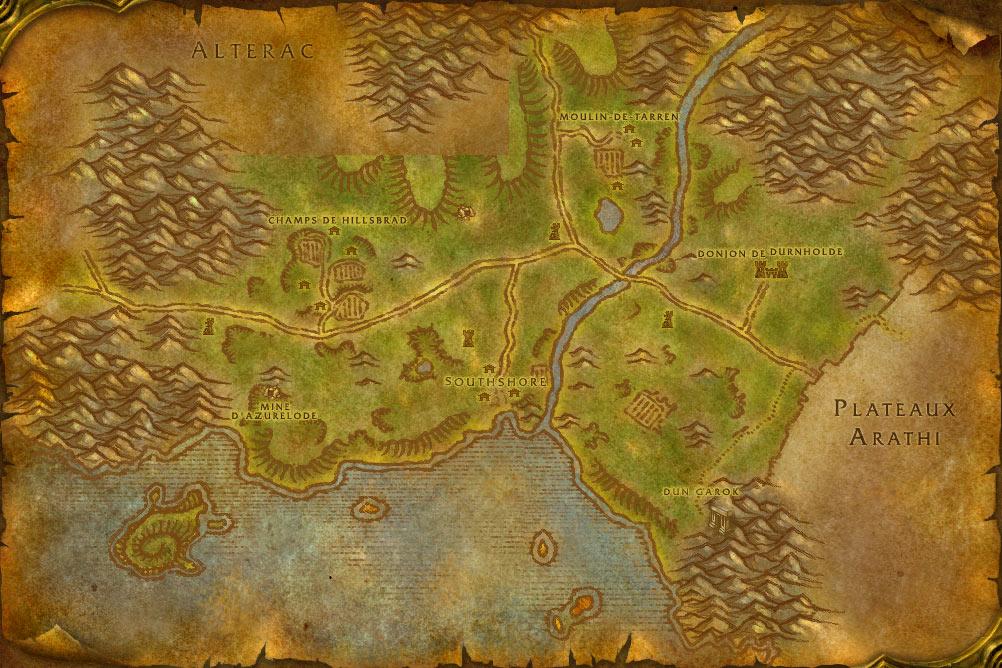 Carte de la zone Contreforts de Hautebrande de World of Warcraft Classic.