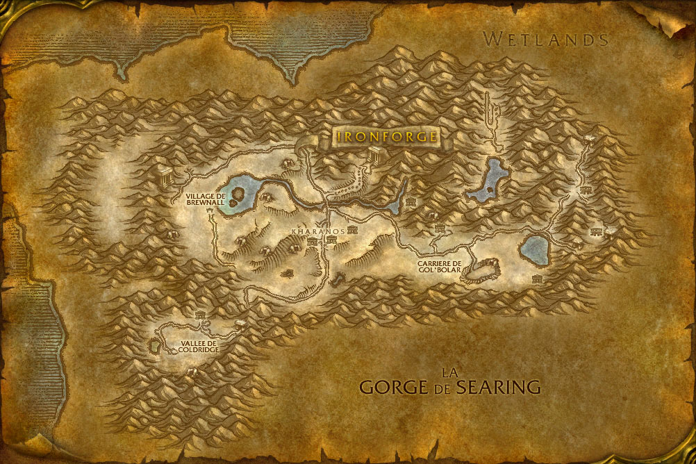 Carte de la zone Dun Morogh de World of Warcraft Classic.