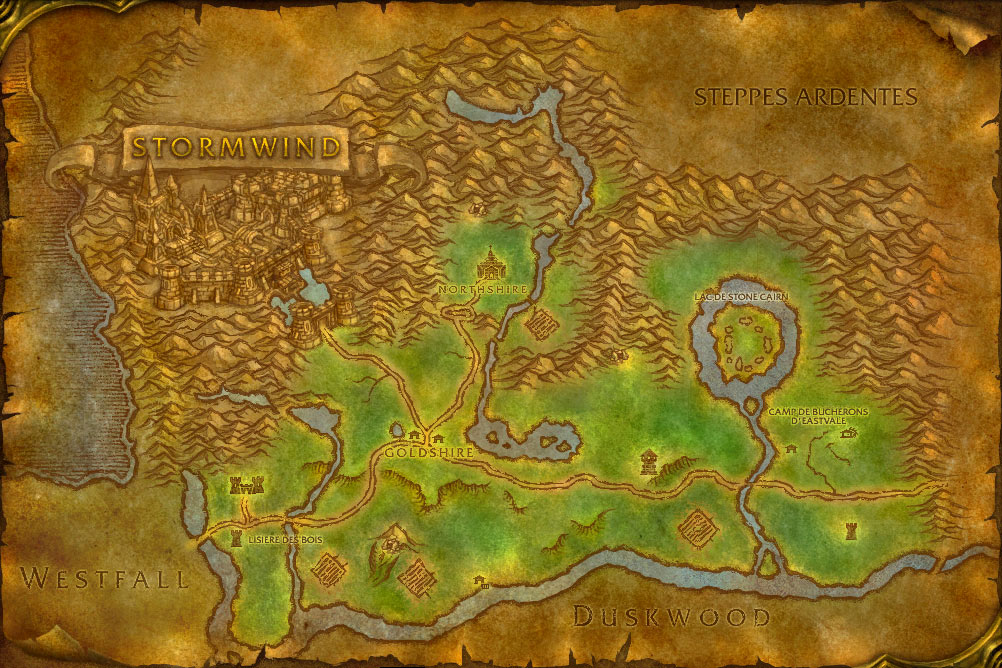 Carte de la zone Forêt d'Elwynn de World of Warcraft Classic.
