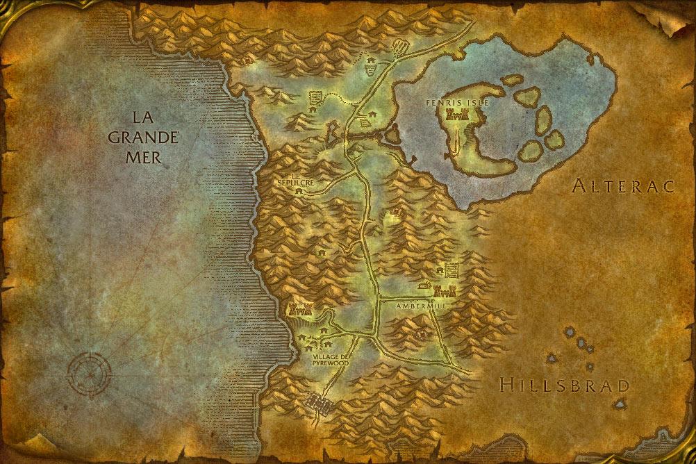 Carte de la zone Forêt des Pins Argentés de World of Warcraft Classic.