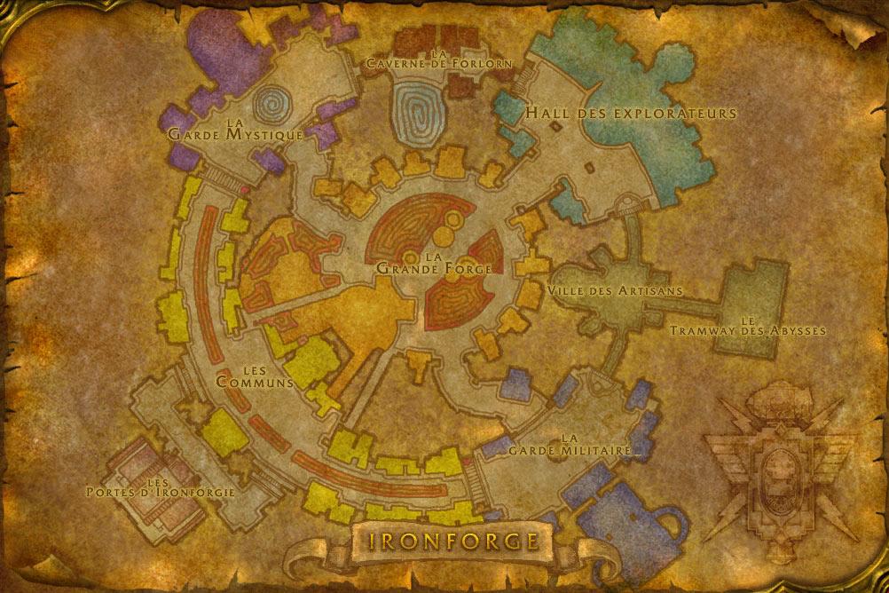 Carte de la cité de Forgefer de World of Warcraft Classic.