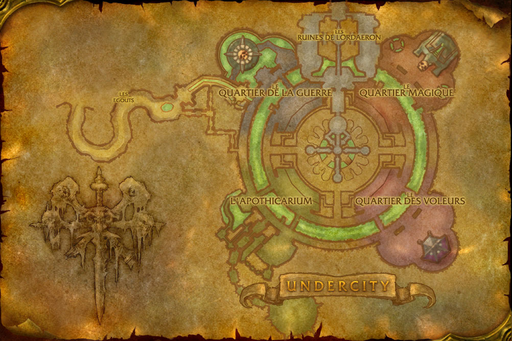 Carte de la cité de Fossoyeuse de World of Warcraft Classic.