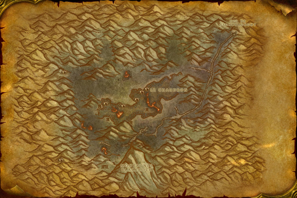 Carte de la zone Gorge des Vents Brûlants de World of Warcraft Classic.