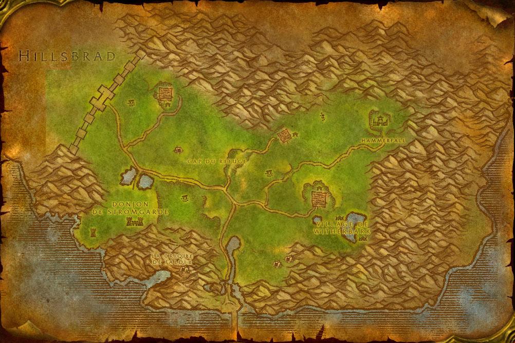 Carte de la zone Hautes-Terres Arathies de World of Warcraft Classic.