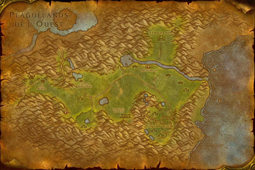 Carte de la zone Hinterlands de World of Warcraft Classic.