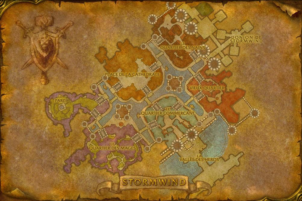 Carte de la cité Hurlevent de World of Warcraft Classic.