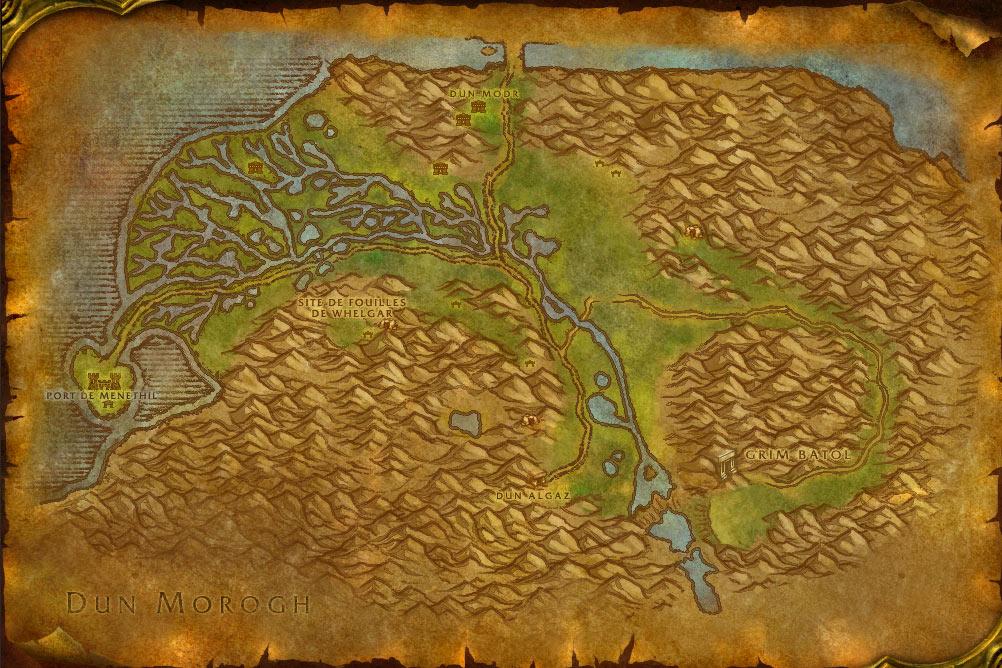 Carte de la zone des Paluns de World of Warcraft Classic.