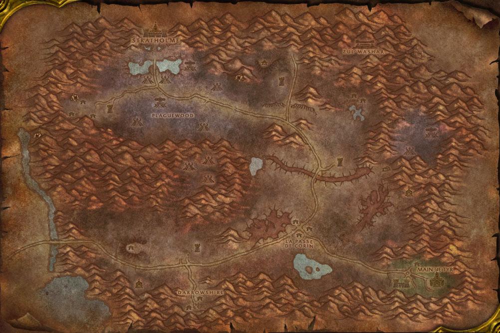 Carte de la zone Maleterres de l'Est de World of Warcraft Classic.