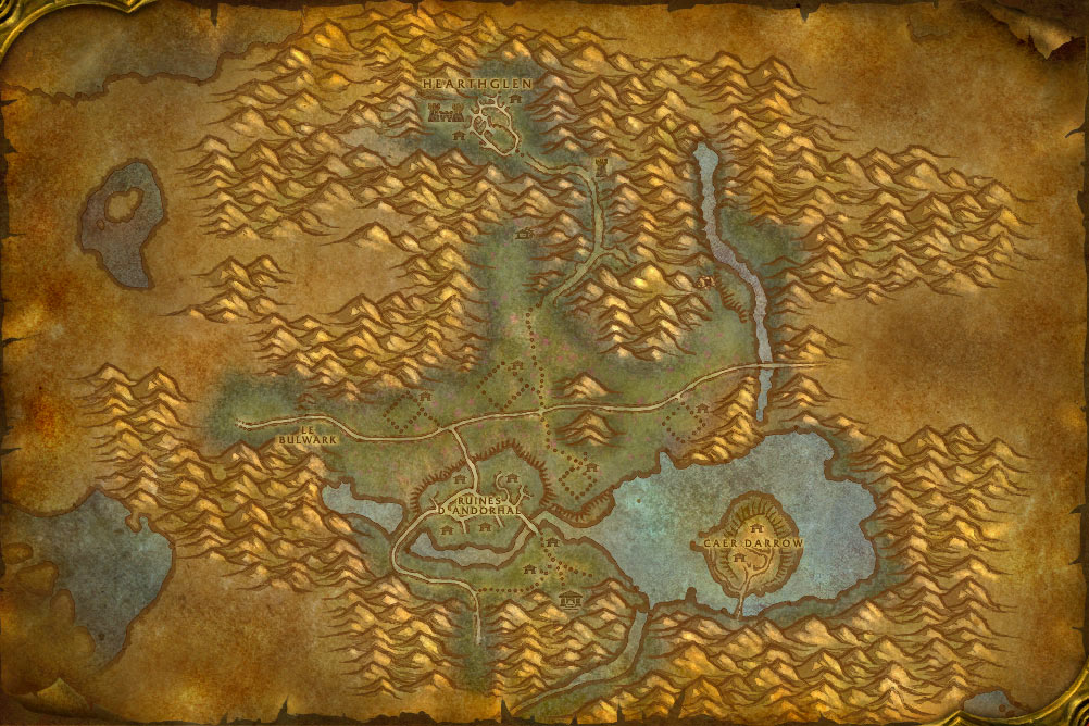 Carte de la zone Maleterres de l'Ouest de World of Warcraft Classic.