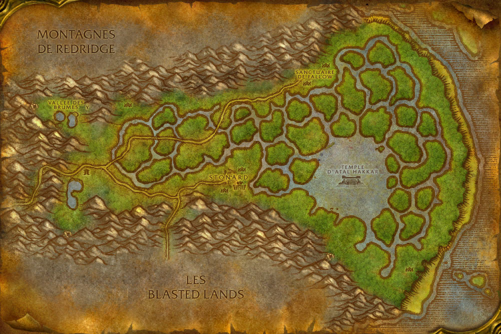 Carte de la zone Marais des Chagrins de World of Warcraft Classic.