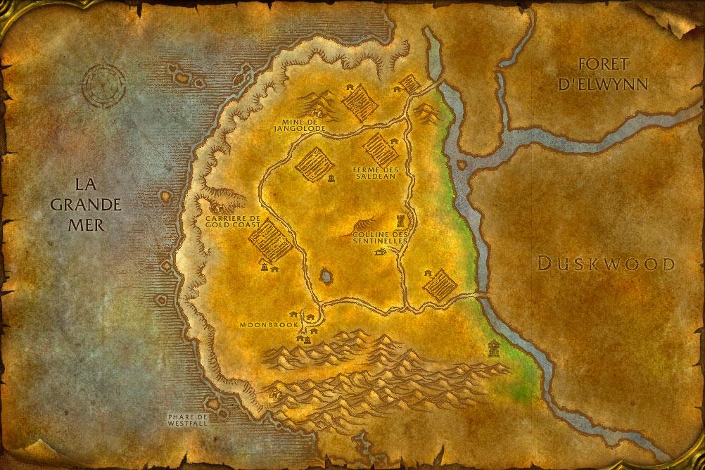 Carte de la zone Marches de l'Ouest de World of Warcraft Classic.