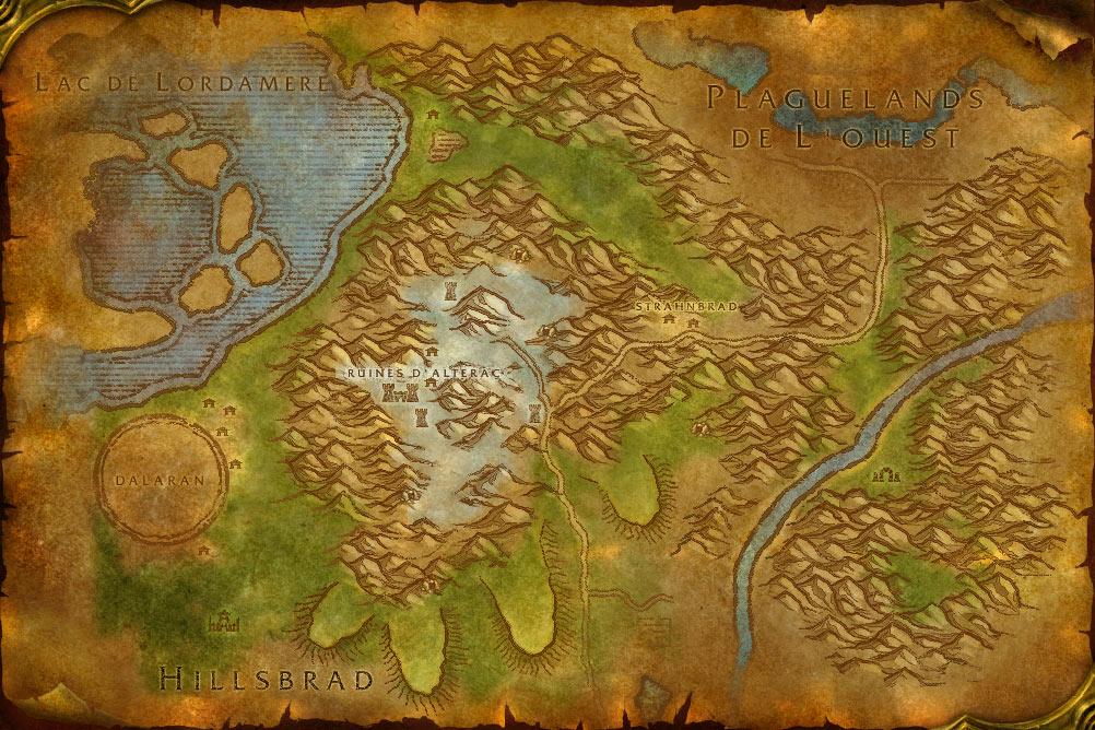 Carte de la zone Montagnes d'Alterac de World of Warcraft Classic.
