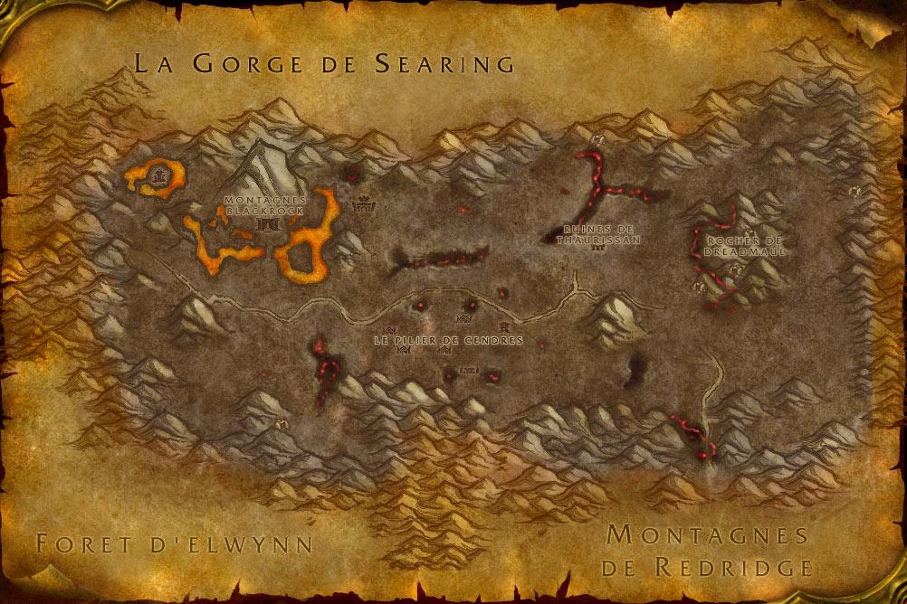 Carte de la zone Steppes Ardentes de World of Warcraft Classic.