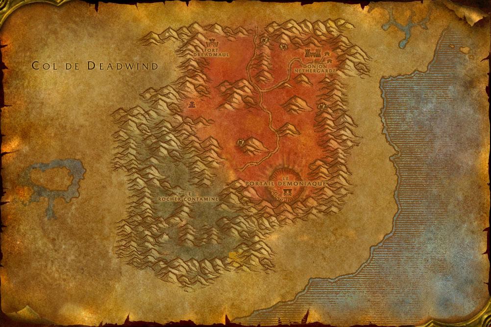 Carte de la zone Terres Foudroyées de World of Warcraft Classic.