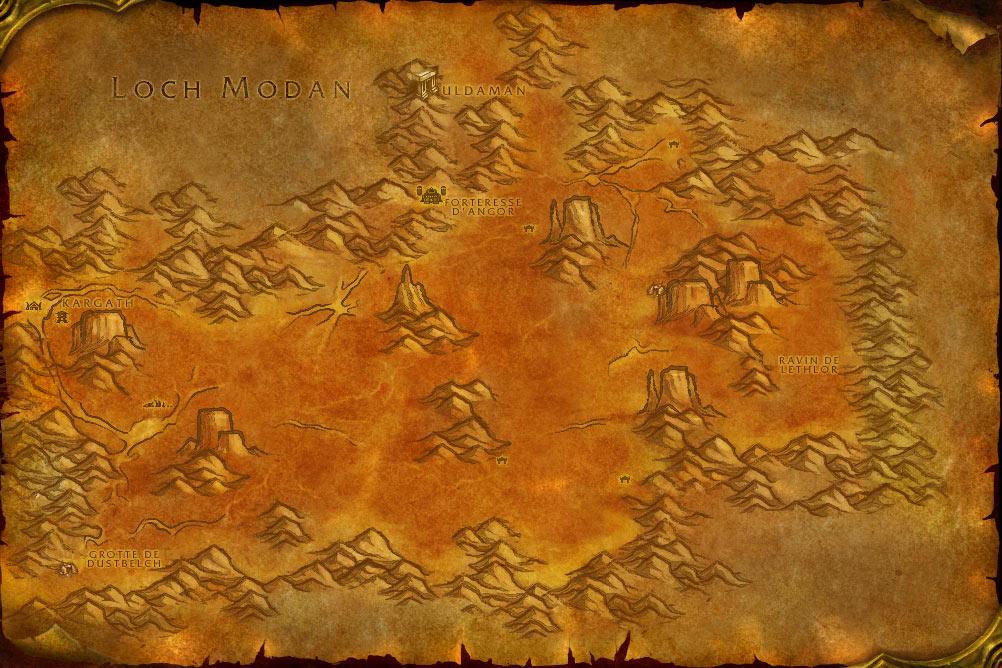 Carte de la zone Terres Ingrates de World of Warcraft Classic.