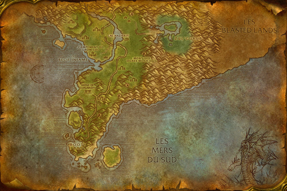 Carte de la zone Vallée de Strangleronce de World of Warcraft Classic.