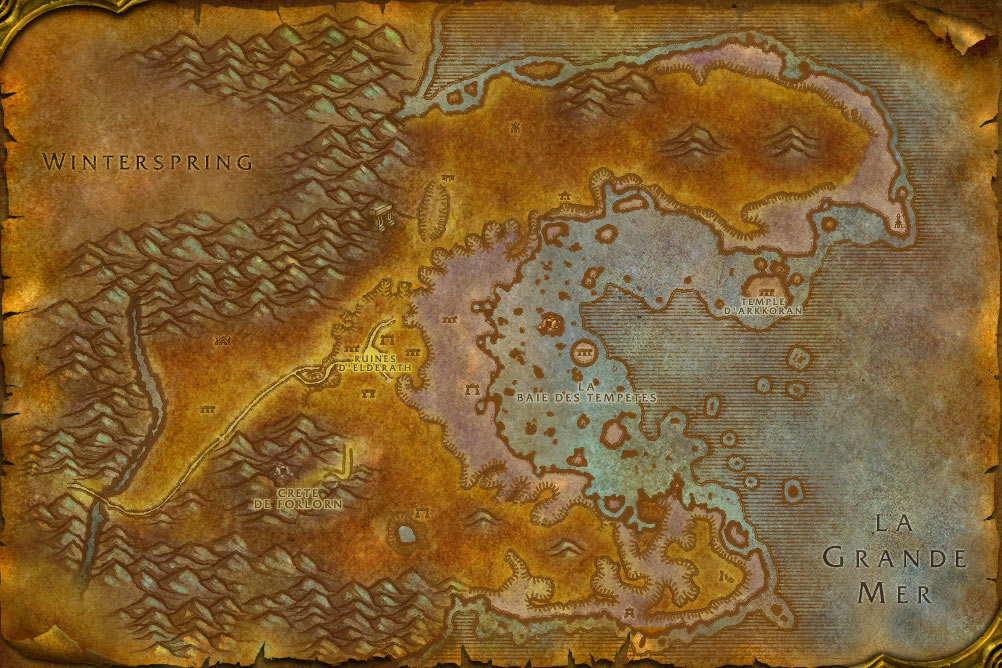 Carte de la zone Azshara de World of Warcraft Classic.