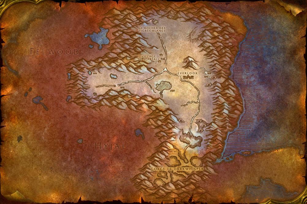 Carte de la zone Berceau de l'Hiver de World of Warcraft Classic.