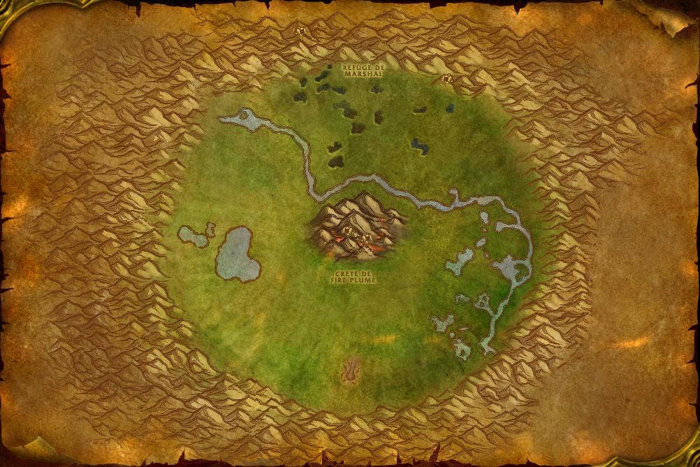 Carte de la zone Cratère d'Un'Goro de World of Warcraft Classic.