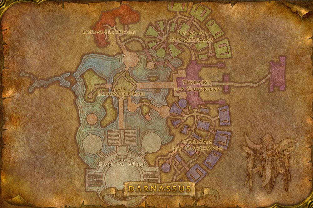 Carte de la cité de Darnassus de World of Warcraft Classic.