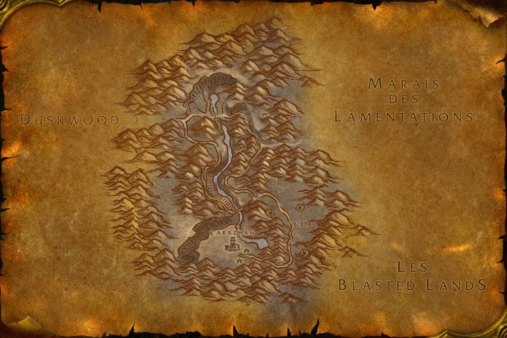 Carte de la zone Défilé de Deuillevent de World of Warcraft Classic.