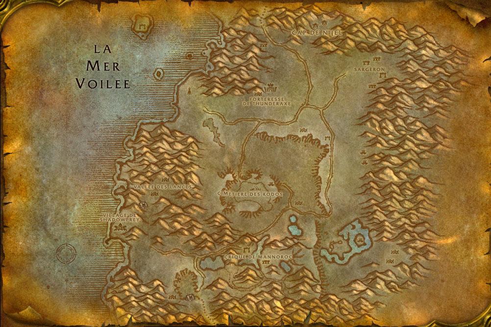 Carte de la zone Désolace de World of Warcraft Classic.