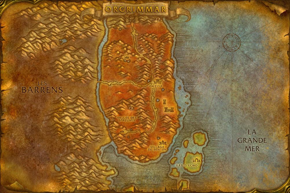 Carte de la zone Durotar de World of Warcraft Classic.