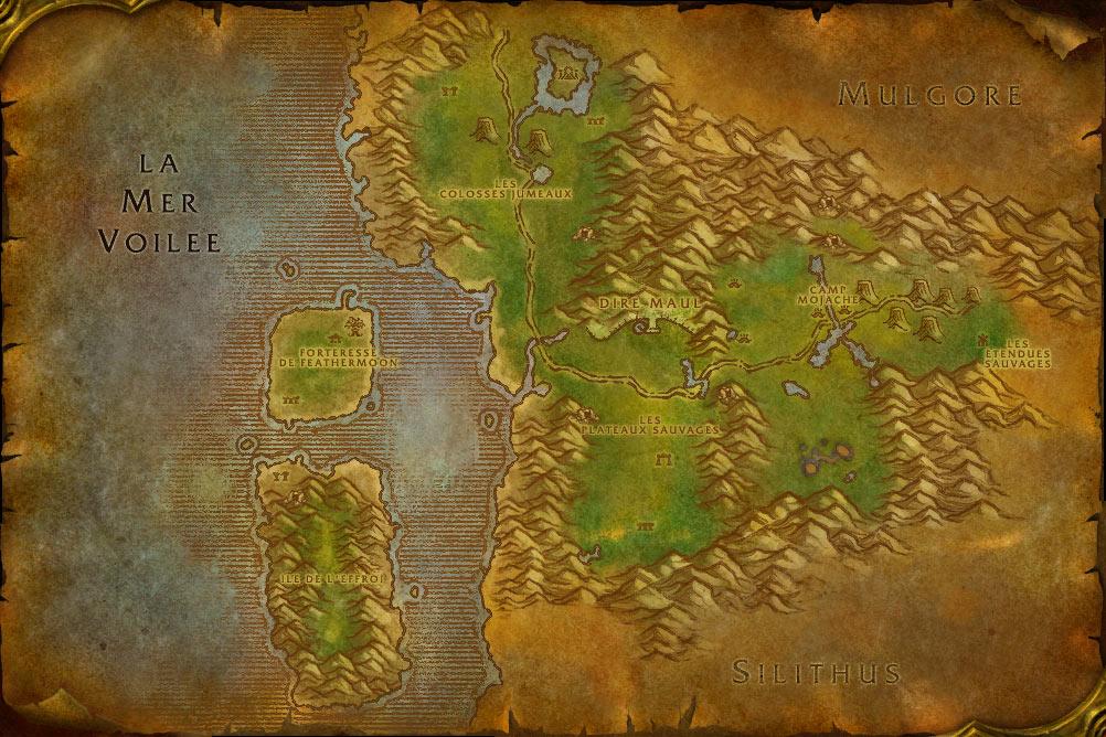Carte de la zone Féralas de World of Warcraft Classic.