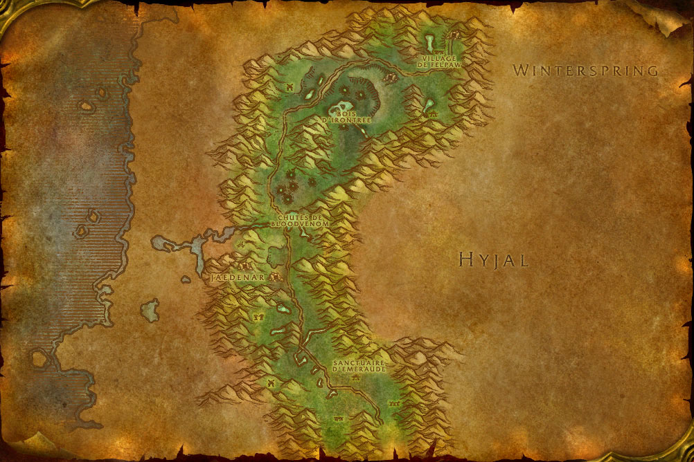 Carte de la zone Gangrebois de World of Warcraft Classic.