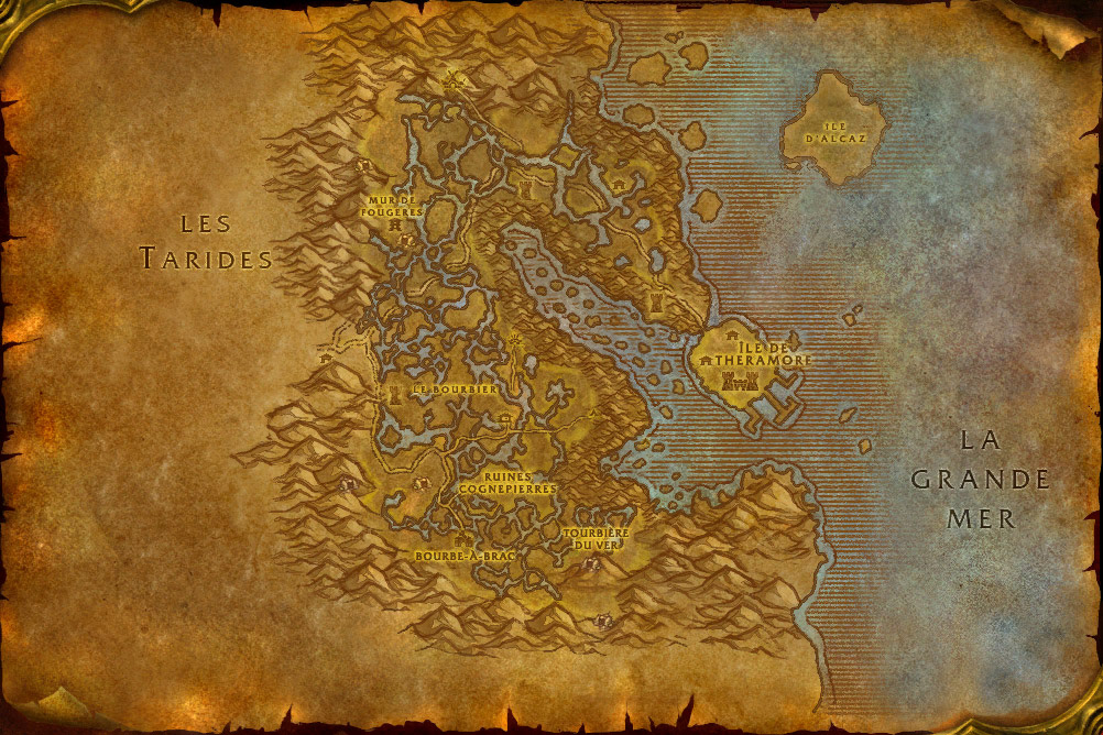 Carte de la zone Marécage d'Aprefange de World of Warcraft Classic.