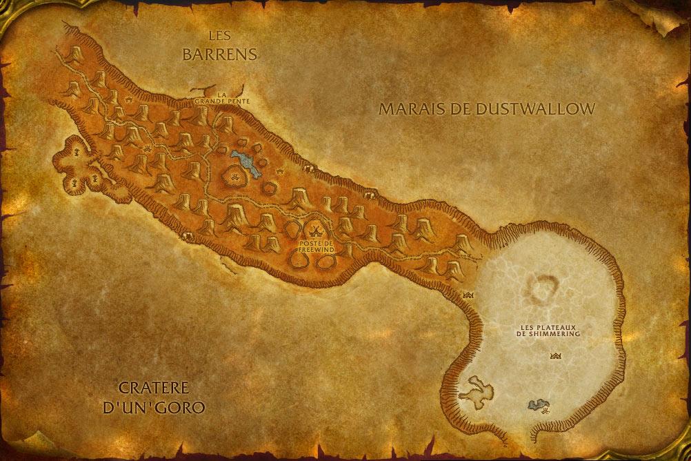 Carte de la zone Mille Pointes de World of Warcraft Classic.
