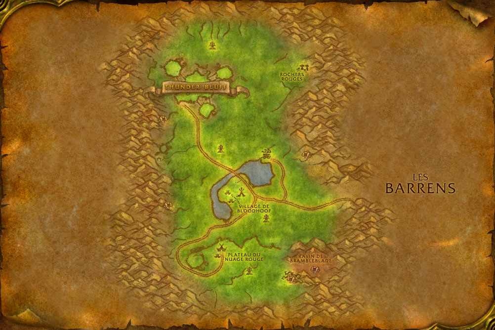 Carte de la zone Mulgore de World of Warcraft Classic.