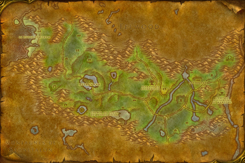 Carte de la zone Orneval de World of Warcraft Classic.