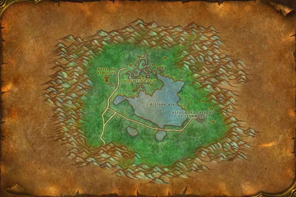 Carte de la zone Reflet-de-Lune de World of Warcraft Classic.