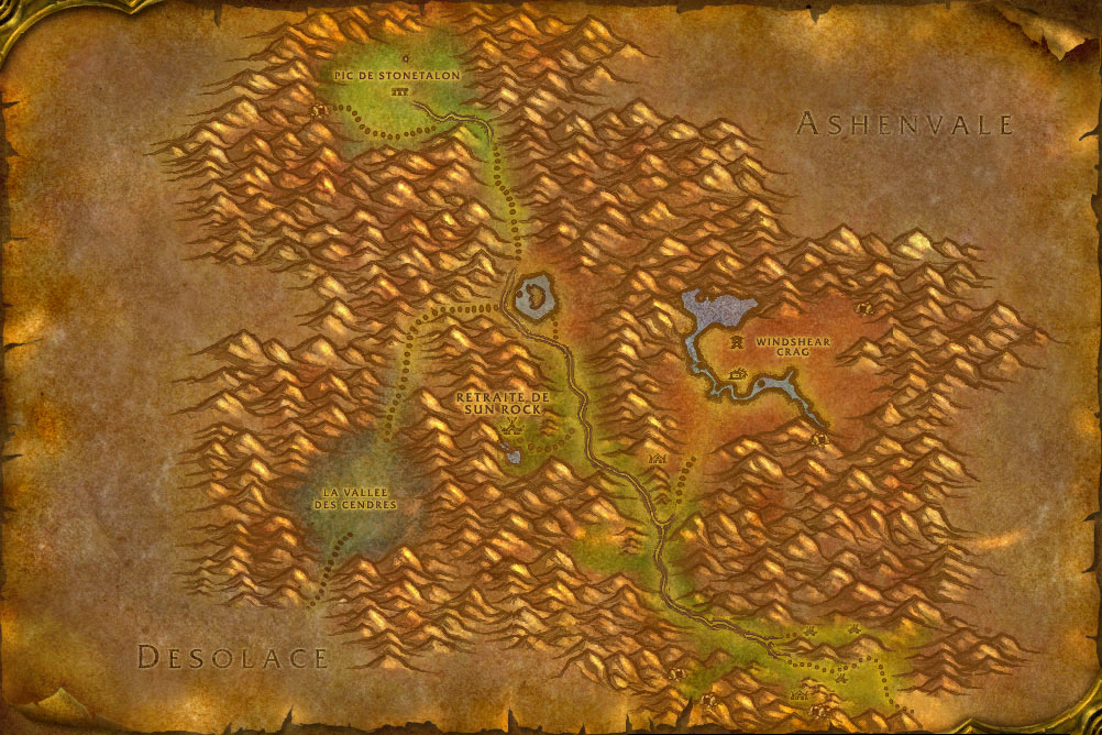 Carte de la zone Serres-Rocheuses de World of Warcraft Classic.