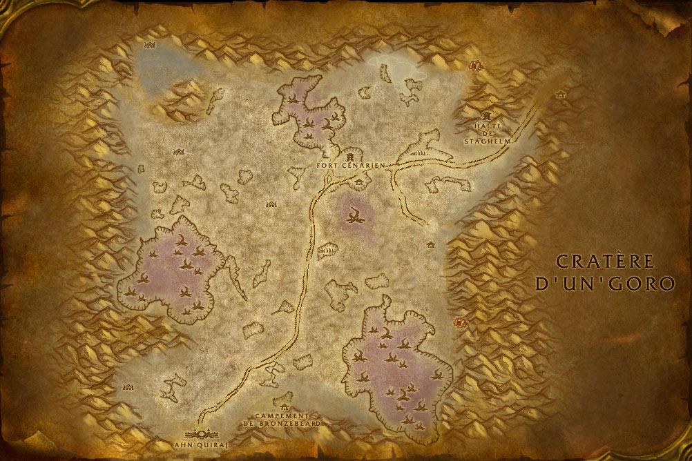 Carte de la zone Silithus de World of Warcraft Classic.