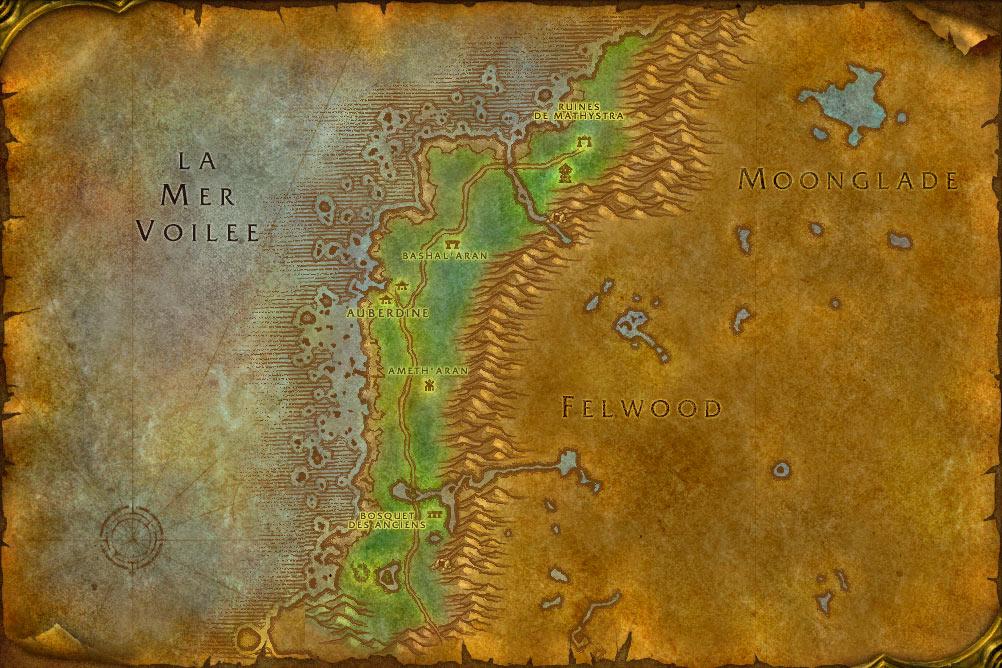 Carte de la zone Sombrivage de World of Warcraft Classic.