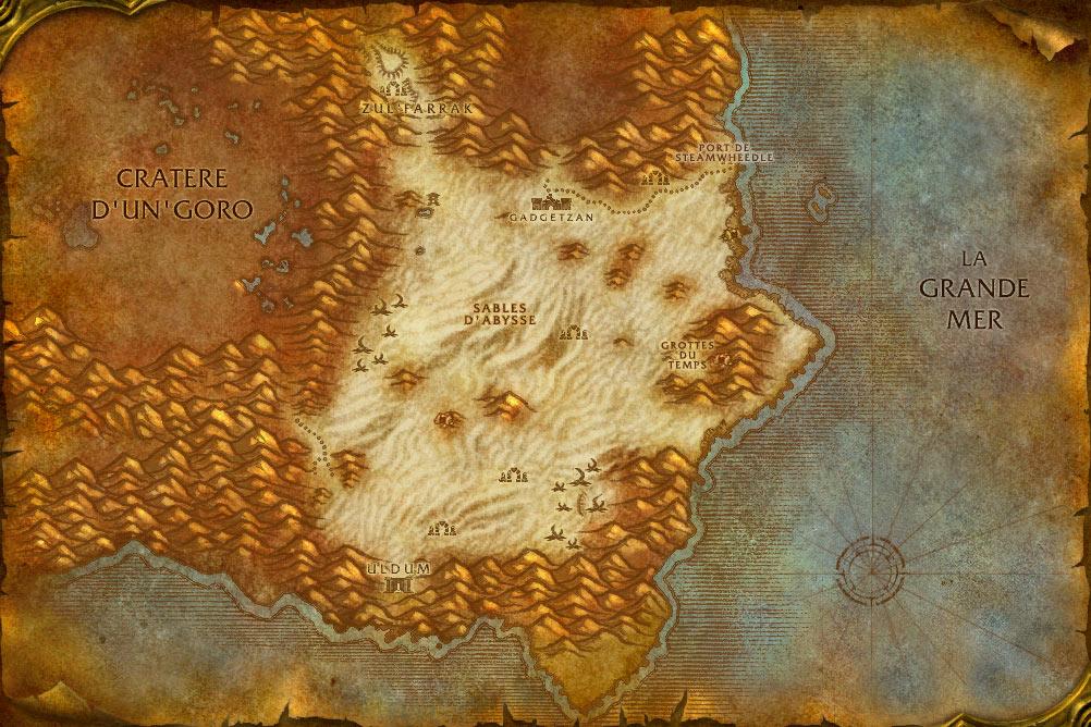 Carte de la zone Tanaris de World of Warcraft Classic.