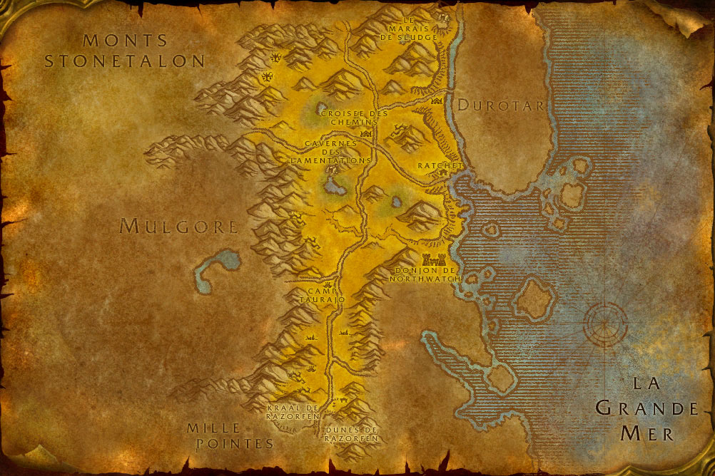 Carte de la zone Les Tarides de World of Warcraft Classic.