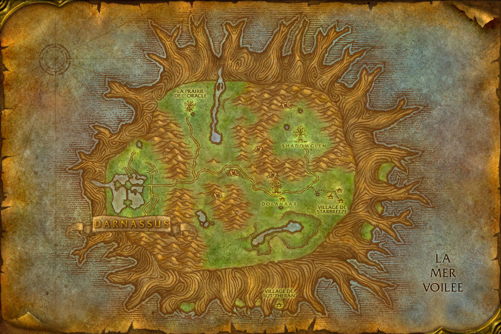 Carte de la zone Teldrassil de World of Warcraft Classic.